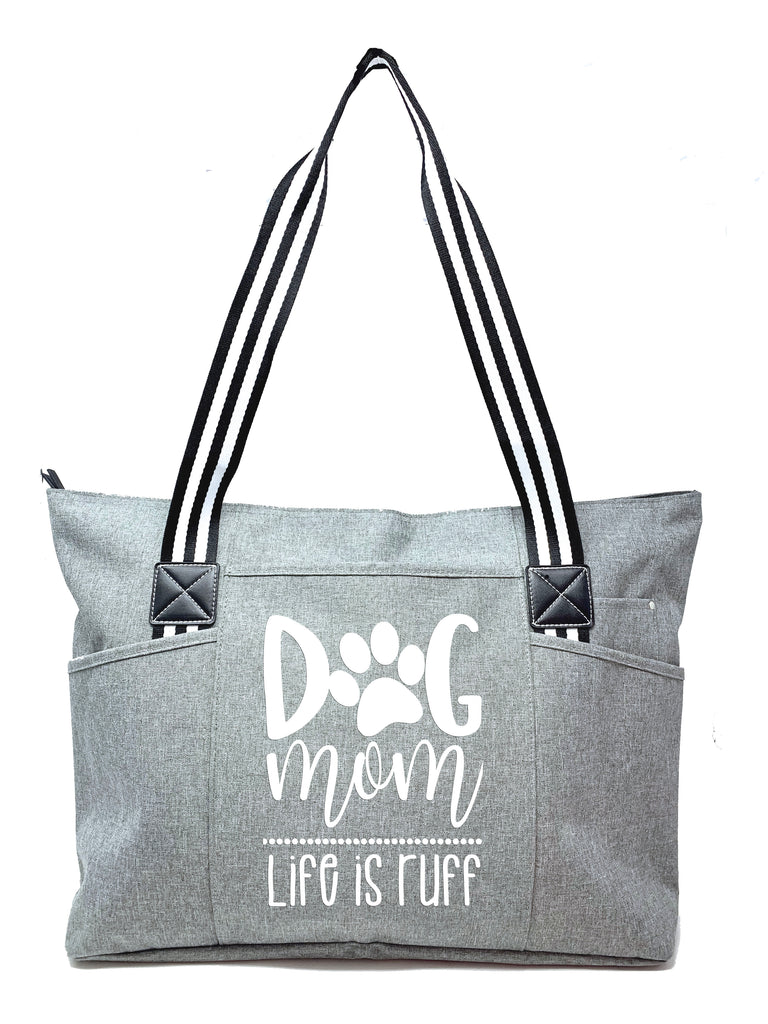 Dog Mom Gray Tessa Tote Bag Black & White Straps