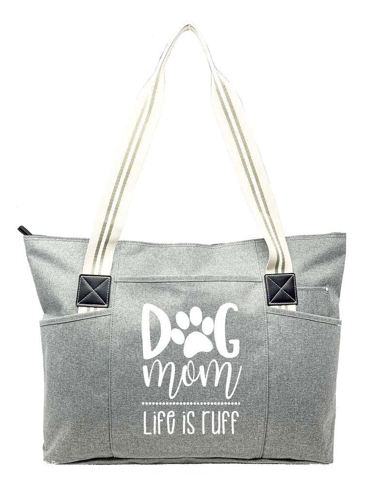 Dog Mom Gray Tessa Tote Bag