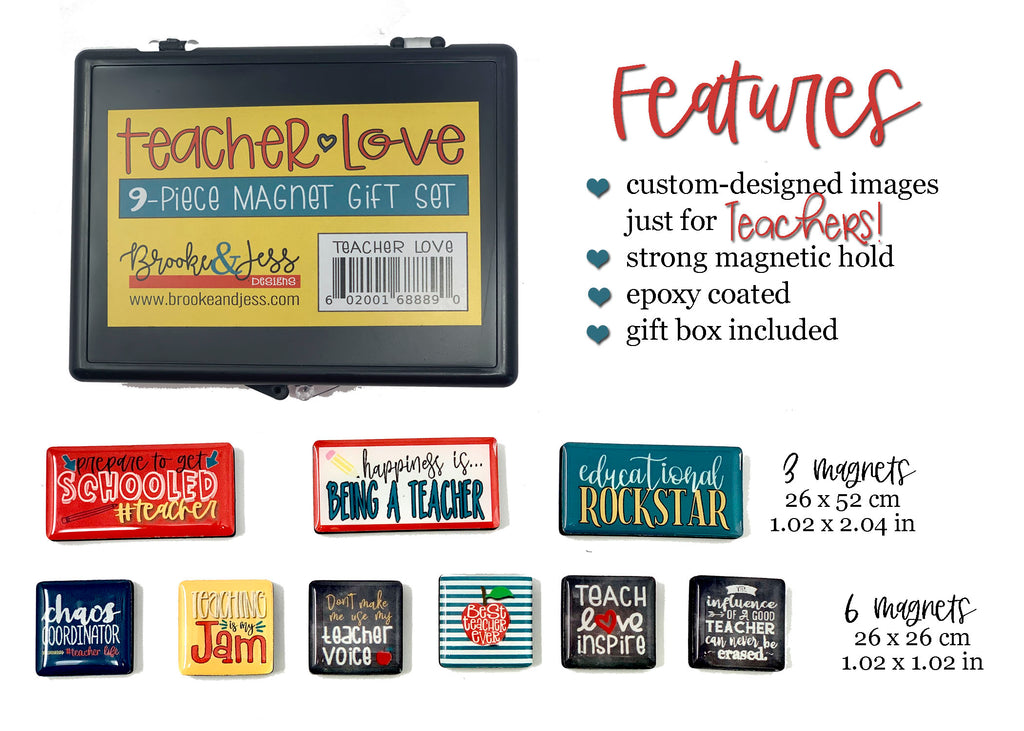 """Teacher Love"" Magnet Gift Set - 9 Pieces with Gift Box Included"