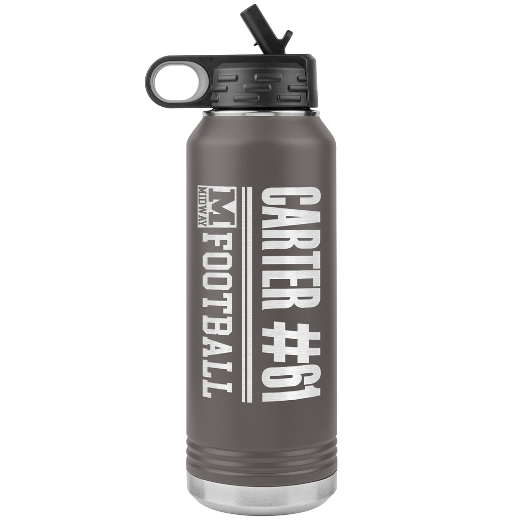 Carter Midway ISD Sport & Activity Customized Laser-Etched 32 oz Stainless-Steel Water Bottle