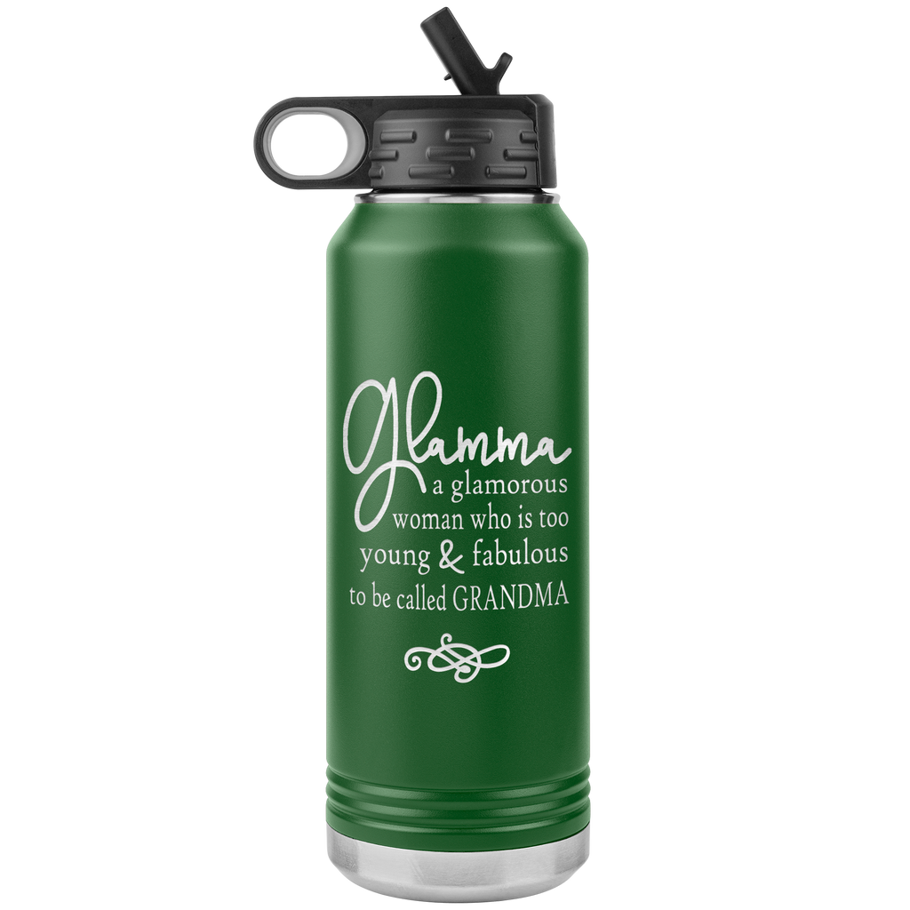 Glamma - 32oz Stainless Steel Water Bottle for Nana, Grandma, Grandmothers