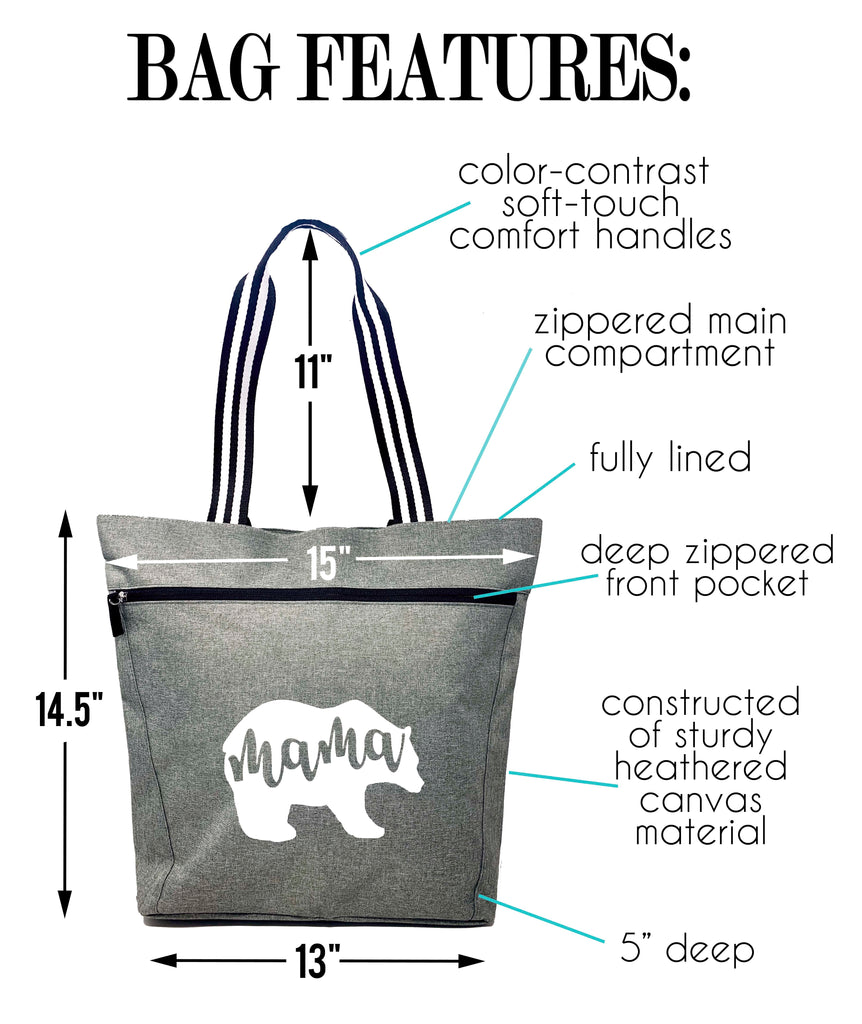 Gray Mama Bear Lexie Zippered Tote Bag