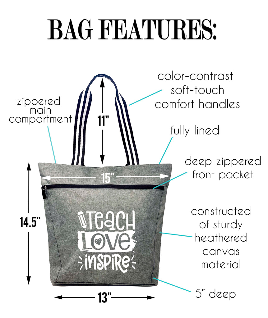 Teacher - Teach Love Inspire Gray Lexie Zippered Tote Bag