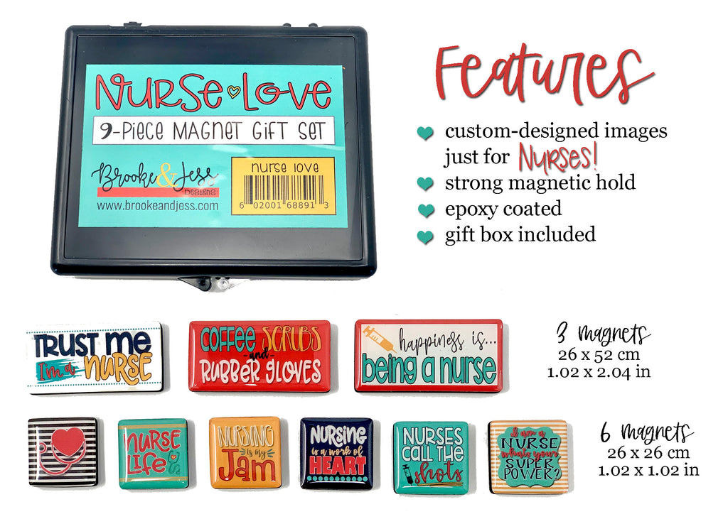 """Nurse Love"" Magnet Gift Set for Nurses - 9 Pieces"