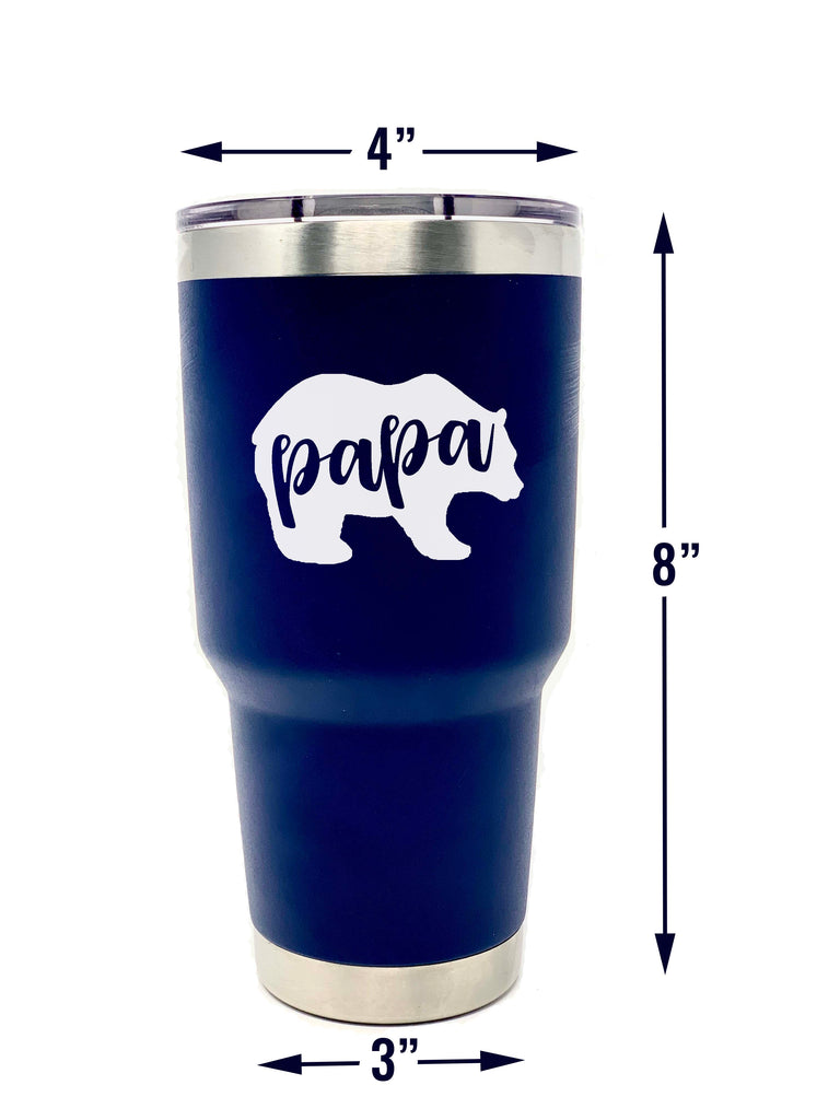 Papa Bear Navy 30 oz Stainless Steel Vacuum Tumbler