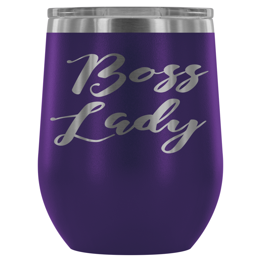Stainless Steel 12 oz Stemless Wine Vacuum Tumbler - Boss Lady