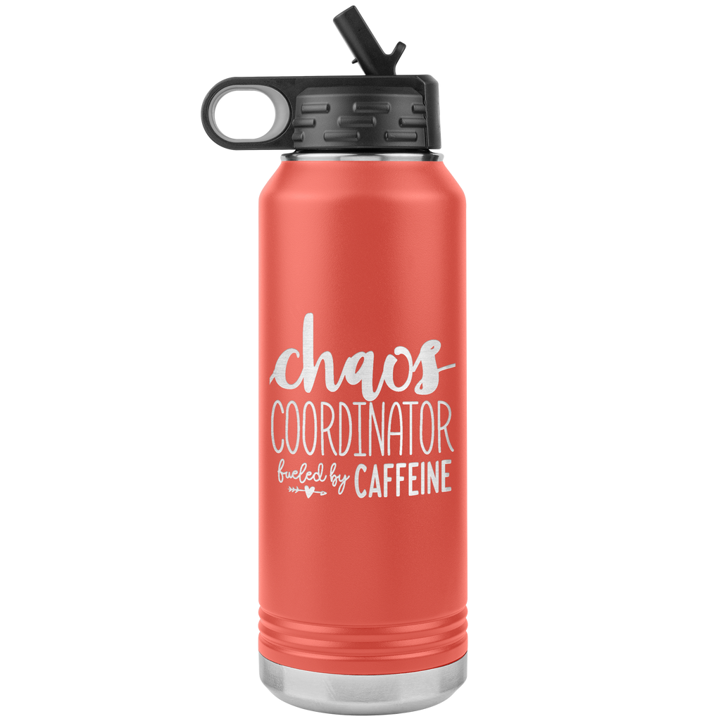 Chaos Coordinator - 32oz Stainless Steel Water Bottle Perfect Gift for Bosses, Moms, and Teachers