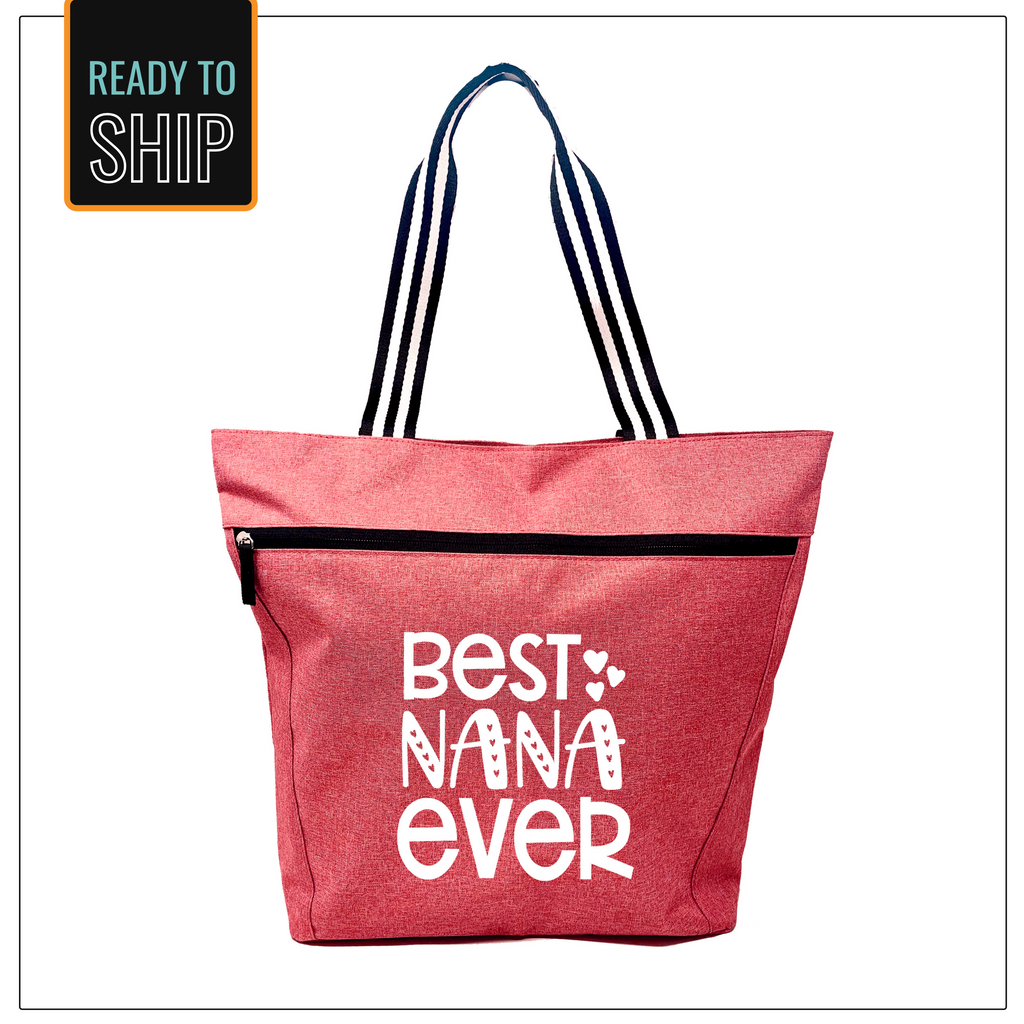 Best Nana Ever Coral Lexie Zippered Tote Bag