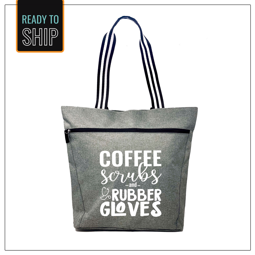 Coffee Scrubs and Rubber Gloves Gray Lexie Zippered Tote Bag