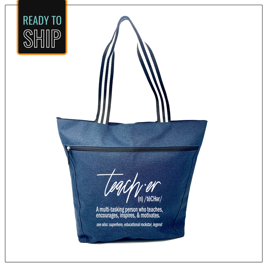 Definition of a Teacher Blue Lexie Zippered Tote Bag