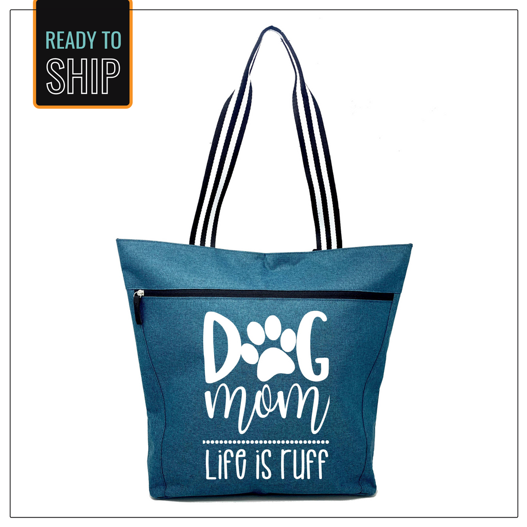 Dog Mom - Life is Ruff Teal Lexie Zippered Tote Bag