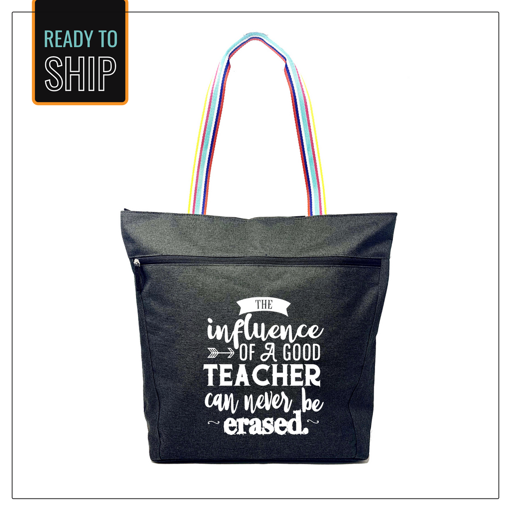 Influence of a Teacher Black Lexie Zippered Tote Bag