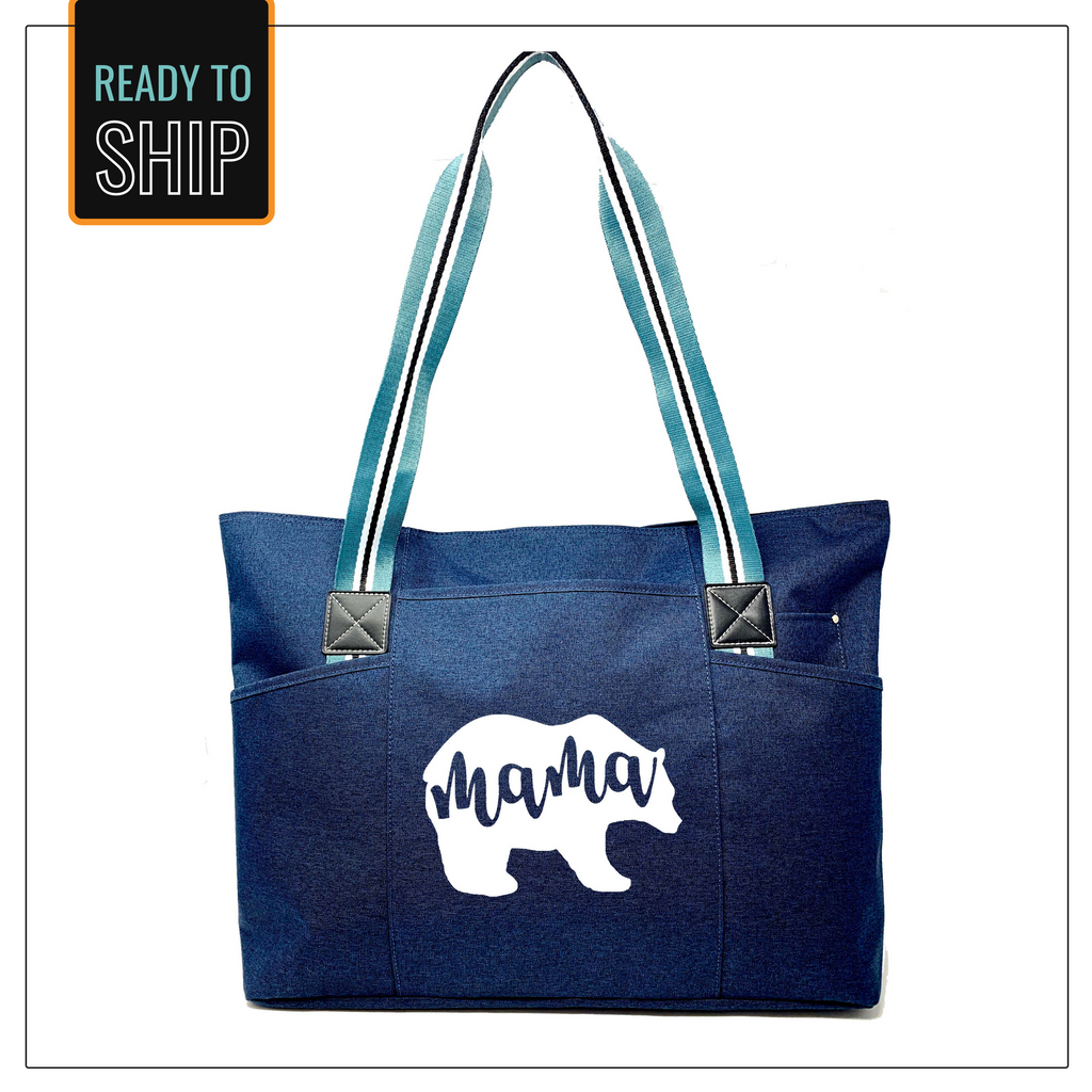 Mama Bear Blue Tessa Tote Bag