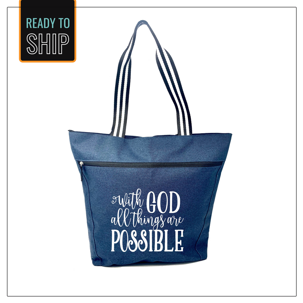 With God Lexie Blue Zippered Tote Bag