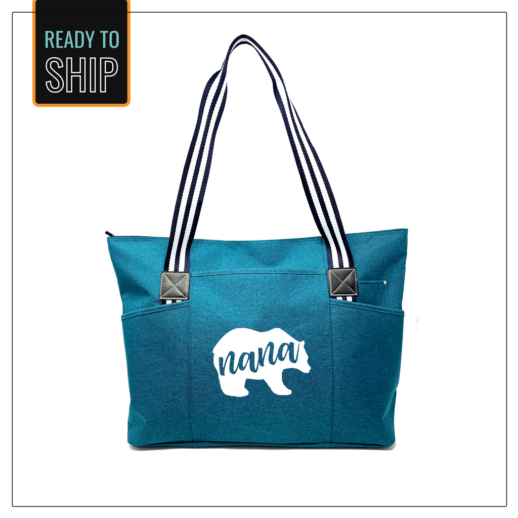 Nana Bear Teal Tessa Zippered Tote Bag