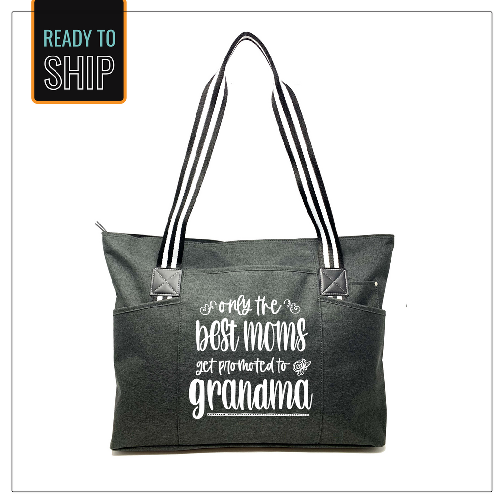 Only the Best Moms Get Promoted to Grandma Tessa Black Tote Bag