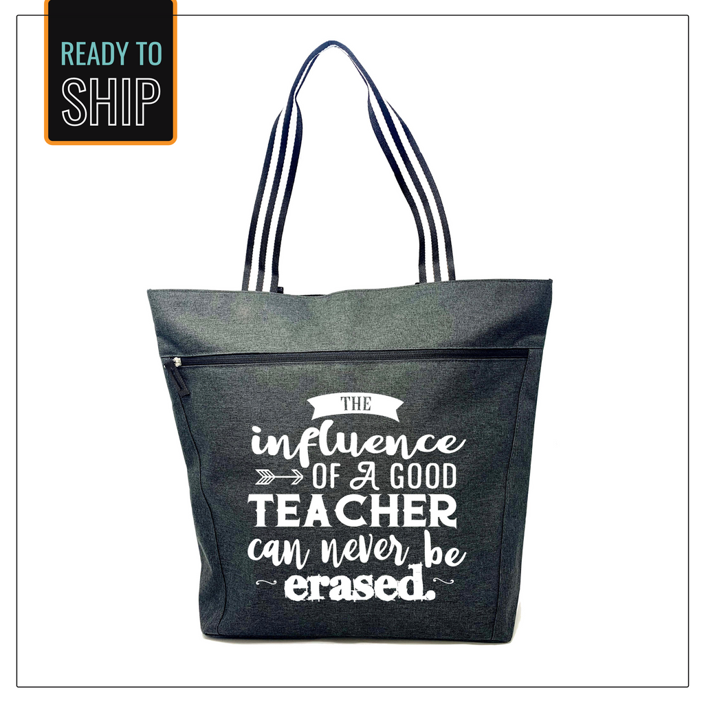The Influence of a Teacher Can Never Be Erased Black Lexie Tote Bag - B&W Straps