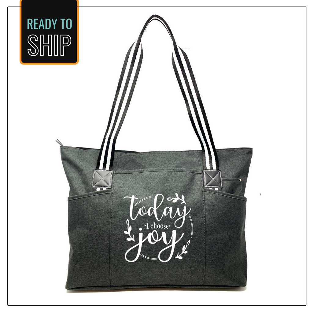 Today I Choose Joy Black Tessa Tote Bag