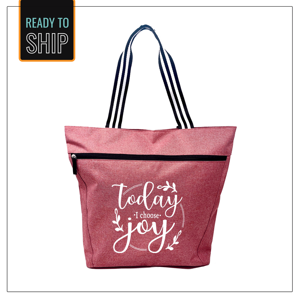 Today I Choose Joy Coral Lexie Zippered Tote Bag