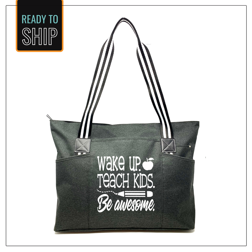 Wake Up. Teach Kids. Be Awesome Black Tessa Tote Bag