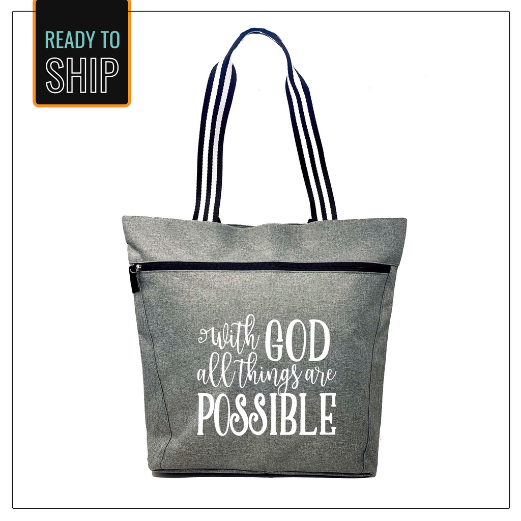 With God All Things are Possible Gray Lexie Tote Bag