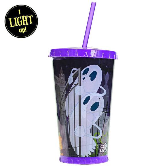 Ghostly Grave Yard Light Up Tumbler With Straw