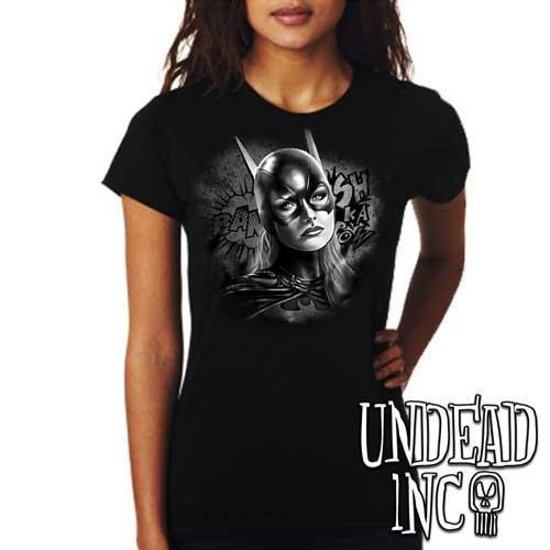 Batgirl - Ladies T Shirt Black Grey - Undead Inc Ladies T-shirts,