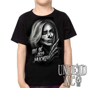 Beautiful Death - Day of the Dead Tattoo Art  -  Kids Unisex Girls and Boys T shirt Clothing - Undead Inc Kids T-shirts,