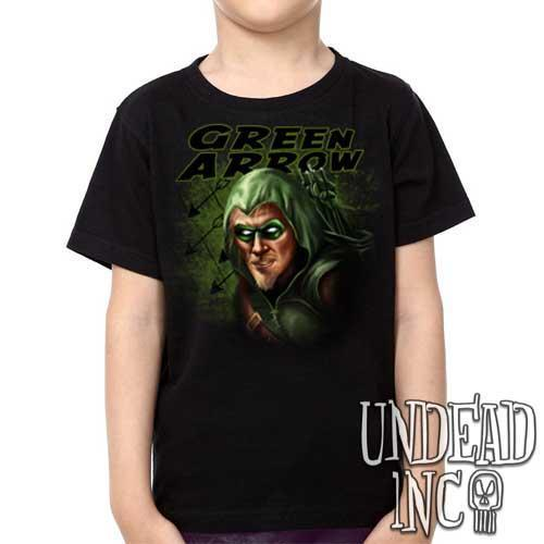 Dc Comics - Oliver Queen - Green Arrow - Kids Unisex Girls and Boys T shirt Clothing - Undead Inc Kids T-shirts,