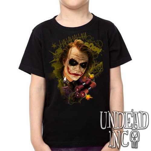 Dc Comics Batman Dark Knight Joker BOOM - Kids Unisex Girls and Boys T shirt Clothing - Undead Inc Kids T-shirts,