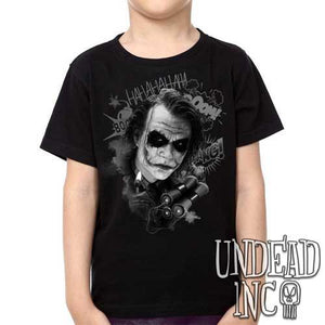 Dc Comics Batman Dark Knight Joker BOOM black grey - Kids Unisex Girls and Boys T shirt Clothing - Undead Inc Kids T-shirts,