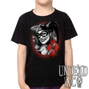 Dc Comics Batman Harley Quinn black grey  - Kids Unisex Girls and Boys T shirt Clothing - Undead Inc Kids T-shirts,