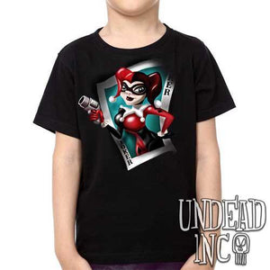 Dc Comics Batman Harley Quinn Joker Card - Kids Unisex Girls and Boys T shirt Clothing - Undead Inc Kids T-shirts,