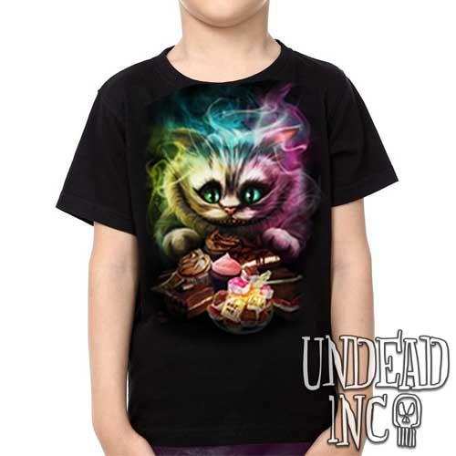 Alice in Wonderland Tim Burton Cheshire Cat - Kids Unisex Girls and Boys T shirt Clothing - Undead Inc Kids T-shirts,