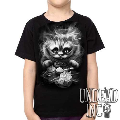 Alice in Wonderland Tim Burton Cheshire Cat Black Grey - Kids Unisex Girls and Boys T shirt Clothing - Undead Inc Kids T-shirts,