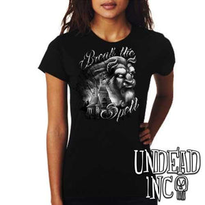 "Beauty & the Beast ""Break the Spell"" - Ladies T Shirt Black Grey - Undead Inc Ladies T-shirts,"