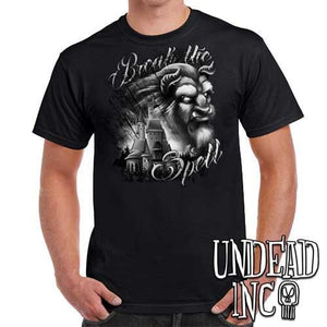 "Beauty & the Beast ""Break the Spell"" - Mens T Shirt BLACK GREY - Undead Inc Mens T-shirts,"