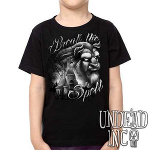 "Beauty & the Beast ""Break the Spell"" Castle Black Grey - Kids Unisex Girls and Boys T shirt Clothing - Undead Inc Kids T-shirts,"