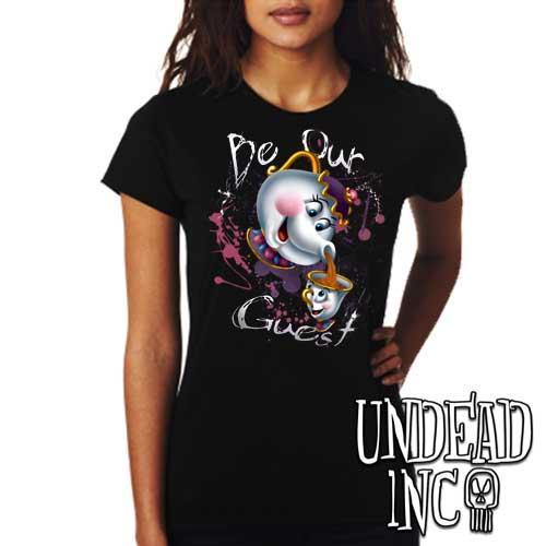 "Beauty and the Beast Mrs Potts and Chip ""Be our guest"" - Ladies T Shirt - Undead Inc Ladies T-shirts,"