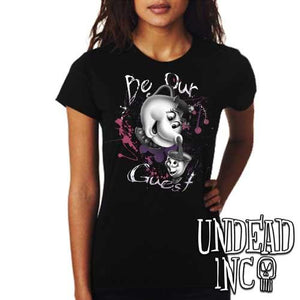 "Beauty and the Beast Mrs Potts and Chip ""Be our guest"" - Ladies T Shirt BLACK GREY - Undead Inc Ladies T-shirts,"