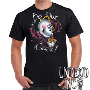 "Beauty and the Beast Mrs Potts and Chip ""Be our guest"" - Mens T Shirt - Undead Inc Mens T-shirts,"