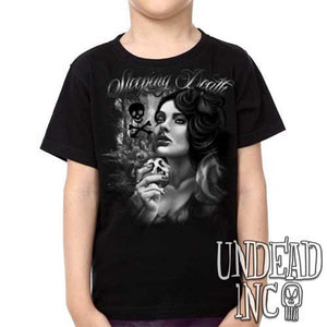 "Snow White Poison Apple ""Sleeping Death"" Black Grey - Kids Unisex Girls and Boys T shirt Clothing"
