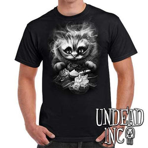 Tim Burton Cheshire Cat - Mens T Shirt BLACK GREY