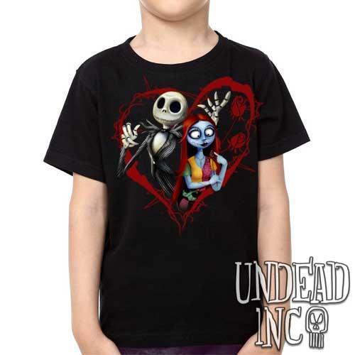 Tim Burton Nightmare Before Christmas Jack and Sally - Kids Unisex Girls and Boys T shirt Clothing Kids T-shirts Undead Inc