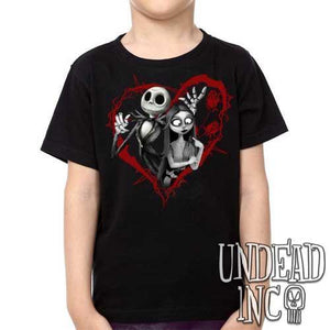 Nightmare Before Christmas Jack and Sally Black Grey  - Kids Unisex Girls and Boys T shirt Clothing