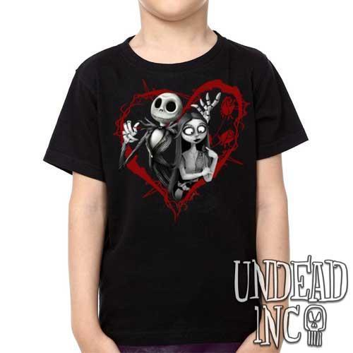 Nightmare Before Christmas Jack and Sally Black Grey - Kids Unisex Girls and Boys T shirt Clothing Kids T-shirts Undead Inc