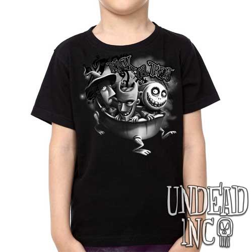 Nightmare Before Christmas Lock Shock Barrel Trick or Treat Black Grey - Kids Unisex Girls and Boys T shirt Clothing
