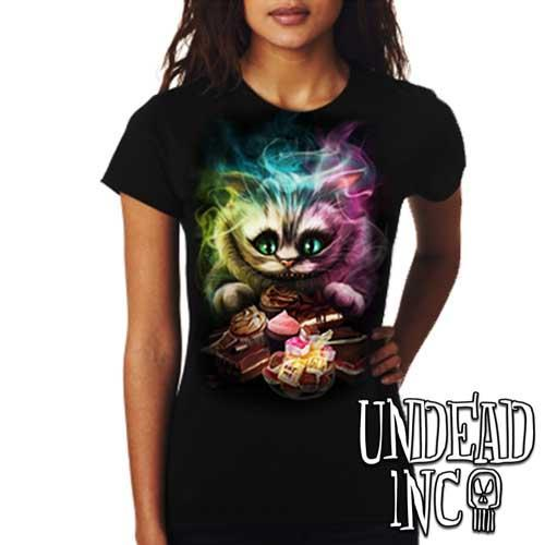 Alice In Wonderland Cheshire Cat  - Ladies T Shirt - Undead Inc ,