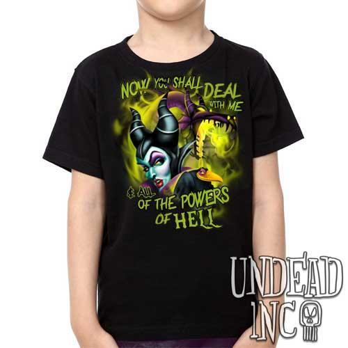Villains - Sleeping Beauty Maleficent - All the Powers of Hell -  Kids Unisex Girls and Boys T shirt Clothing