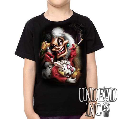 Villains Cruella De Vil Tattooing White Rabbit  - Kids Unisex Girls and Boys T shirt Clothing